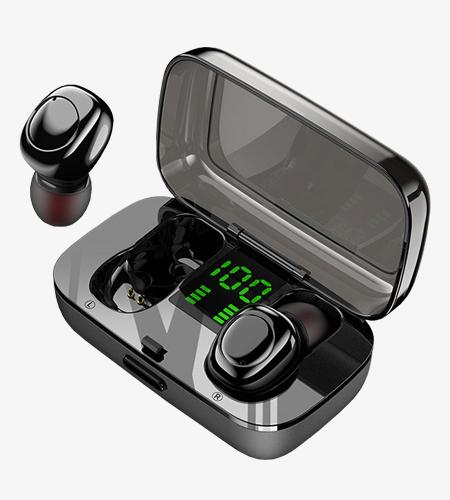 TWS蓝牙耳机触控数显屏双耳入耳式模具定制